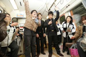 山口県長門市の成人式イベントにゲストとして出演しました!お座敷列車の中でのヒトコマ。